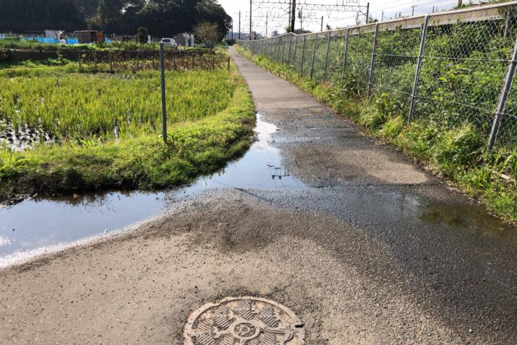 水が出ている道