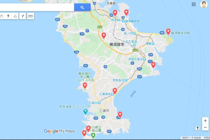 Googleマップへの南房総・三浦半島サイクルスタンプラリーポイント書き込み
