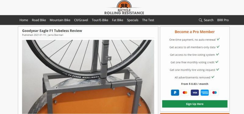 Bicycle Rolling Resistanceサイト