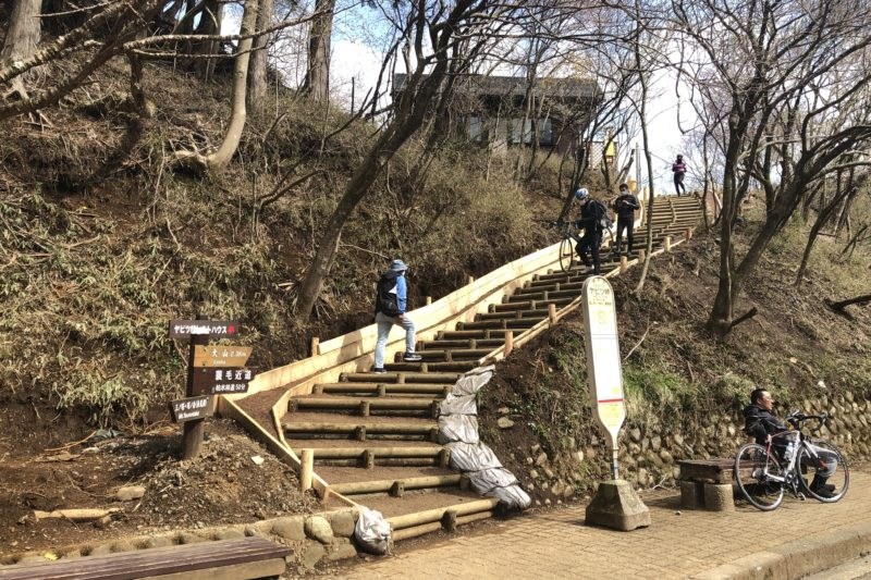 ヤビツ峠レストハウスへの階段