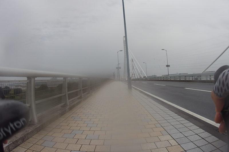 雨の中の相模川の橋